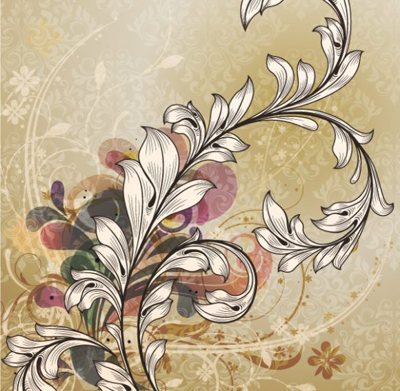 Special Background Vector Design: Vector Design Vintage Floral Background 5