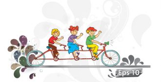 Kids On A Bike Vector Illustration Vector Illustrations vector