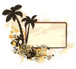 Vintage Summer Frame Vector Illustration Vector Illustrations palm