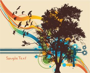 Vector Tree With Colorful Background Vector Illustrations tree