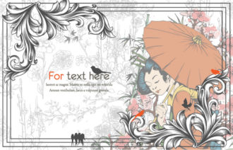 Vector Vintage Background With Geisha Vector Illustrations umbrella