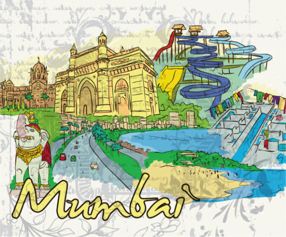 Bold Mumbai Vector Background: Mumbai Doodles Vector Background Illustration 09 06 2011 55