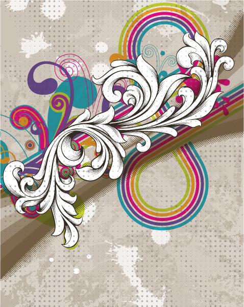 Gorgeous Background Vector Artwork: Grunge Floral Background Vector Artwork Illustration 09 08 2011 57