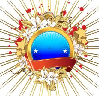 Grunge Label With Floral Vector Illustration Vector Illustrations star