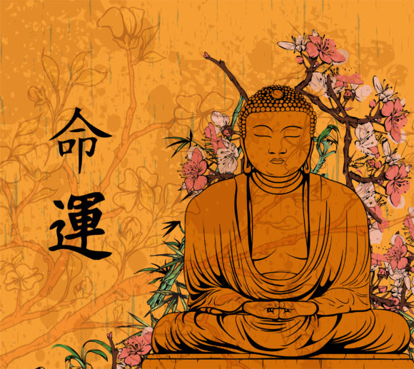 Gorgeous Vector Vector Illustration: Vector Illustration Grunge Floral Background With Buddha Statue 09 28 2010 15