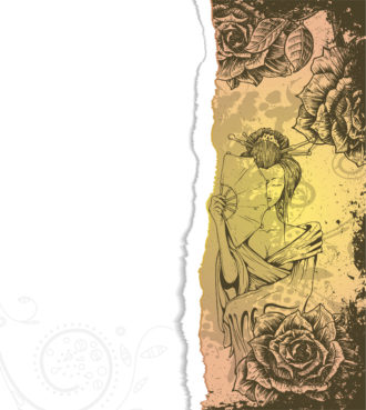 Vector Torn Cardboard With Roses And Geisha Vector Illustrations old