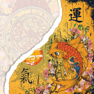 Vector Torn Cardboard With Koi Fish Vector Illustrations old