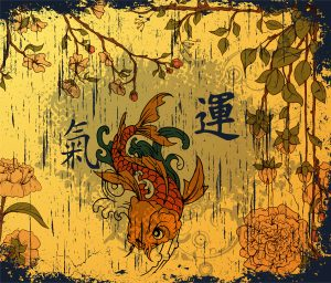 Vector Japanese Background With Koi Fish Vector Illustrations old