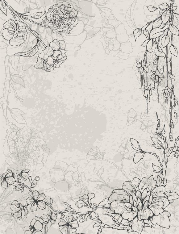 Floral, Illustration Vector Graphic Grunge Floral Background Vector Illustration 5