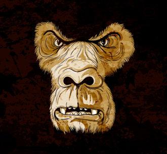 Vector Grunge Gorilla Face Vector Illustrations old