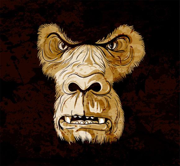 Vector Vector Art: Vector Art Grunge Gorilla Face 5