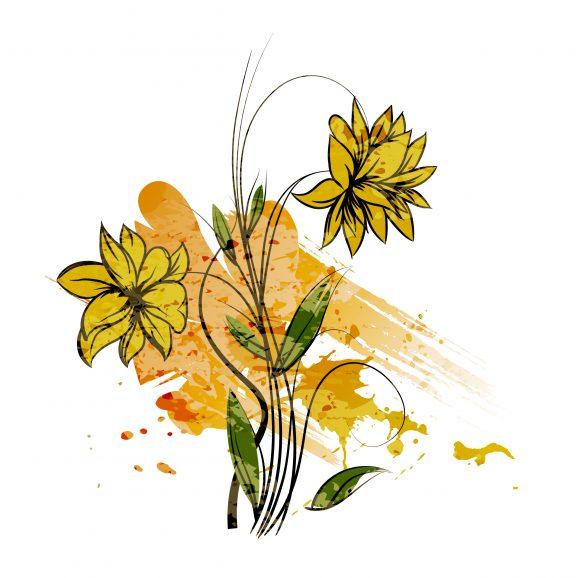 Dirty, Floral, Watercolor Vector Art Vector Watercolor Floral Background 5