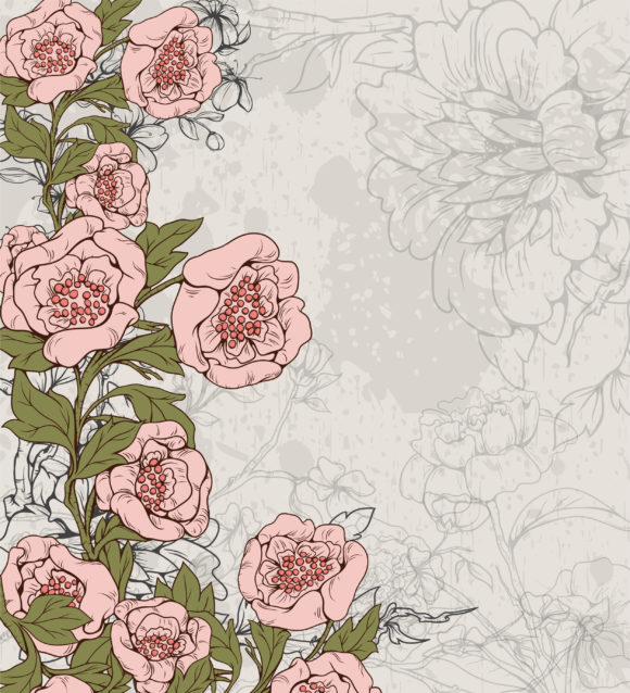 Lovely Rust Vector Illustration: Vector Illustration Grunge Background With Floral 10 04 2010 63