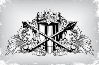 Vintage Emblem With Crest Vector Illustration Vector Illustrations old