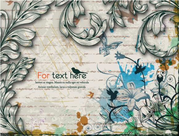 Illustration, Floral-3, Grungy, Floral, Creative Vector Design Vintage Floral Background Vector Illustration 5