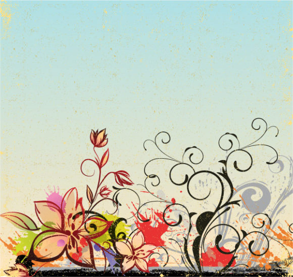Grunge, Floral, Illustration Eps Vector Grunge Floral Background Vector Illustration 5