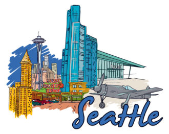 Seattle Doodles Vector Illustration Vector Illustrations building