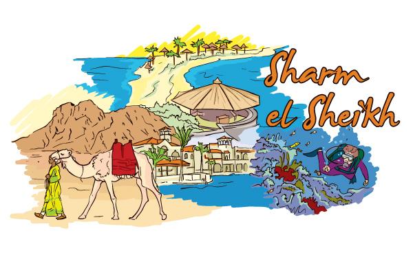 Sharm El Sheikh Vector Illustration Vector Illustrations palm