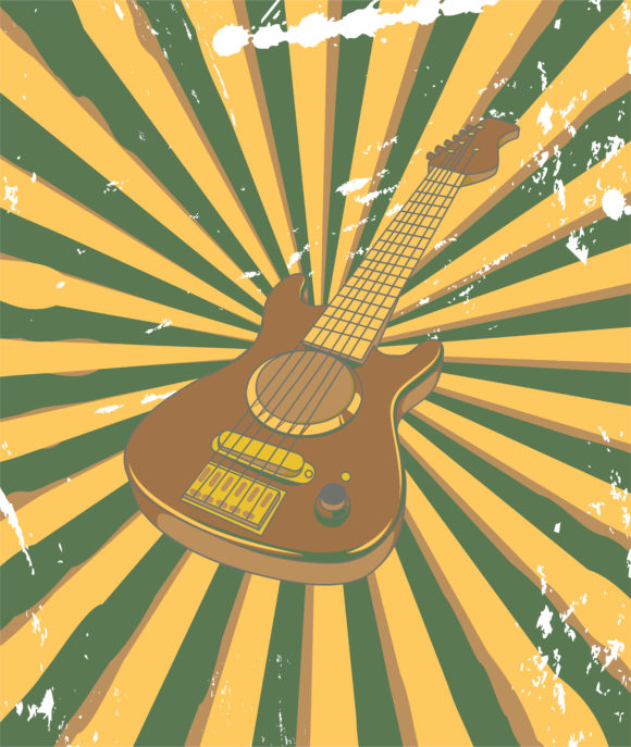 Retro, With, Concert, Concert Eps Vector Vector Retro Concert Poster With Guitar 10 11 2010 62