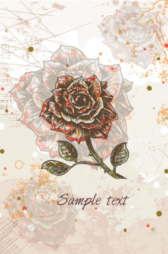 Vector Colorful Floral Background With Roses Vector Illustrations old