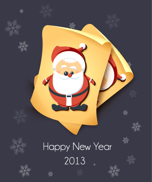 Gorgeous Illustration Vector Graphic: Christmas Vector Graphic Illustration With Old Paper And Santa Sticker 10 12 2012 115