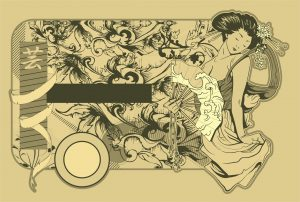 Vector Vintage Label With Geisha Vector Illustrations old