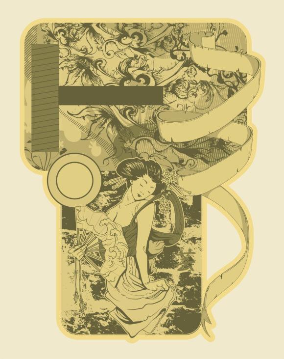 Vector Vintage Label With Geisha 10 14 2010 91