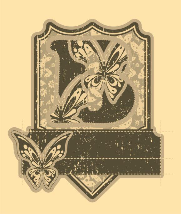 Bold Splash Vector: Vector Vintage Label With Butterflies 10 14 2010 93