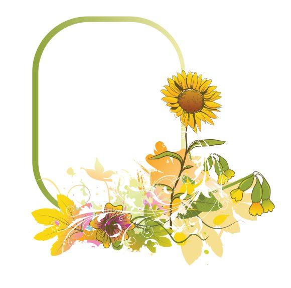 Frame Vector Design: Colorful Floral Frame Vector Design Illustration 5