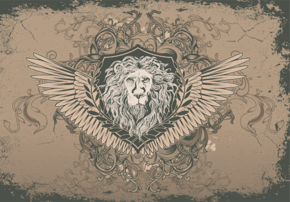 Lion Eps Vector Vector Vintage Background With Lion Head 5