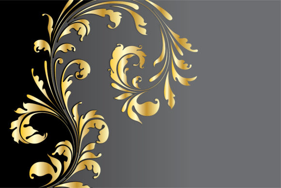 Floral Vector Image Vector Vintage Background With Gold Floral 5