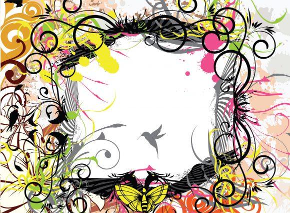 Insane Leaf Vector Graphic: Grunge Floral Background Vector Graphic Illustration 5