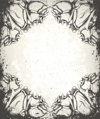 Vector Grunge Floral Background With Roses Vector Illustrations old
