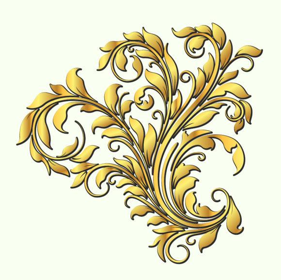 Surprising Gold Eps Vector: Eps Vector Gold Floral Element 5