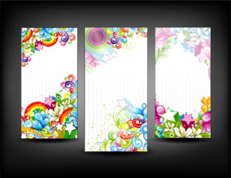 Colorful Banners Set Vector Illustration Scenes star