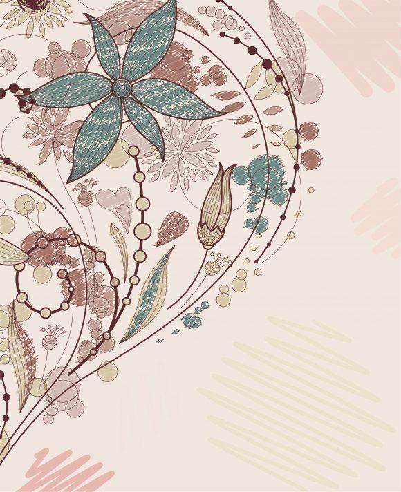 Lovely Floral Vector: Doodles Floral Background Vector Illustration 5
