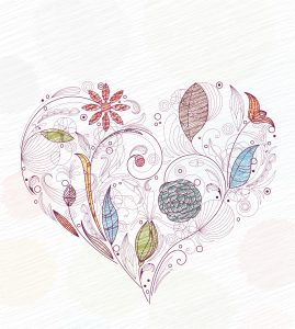 Doodles With Heart Made Of Floral Vector Illustration Vector Illustrations floral
