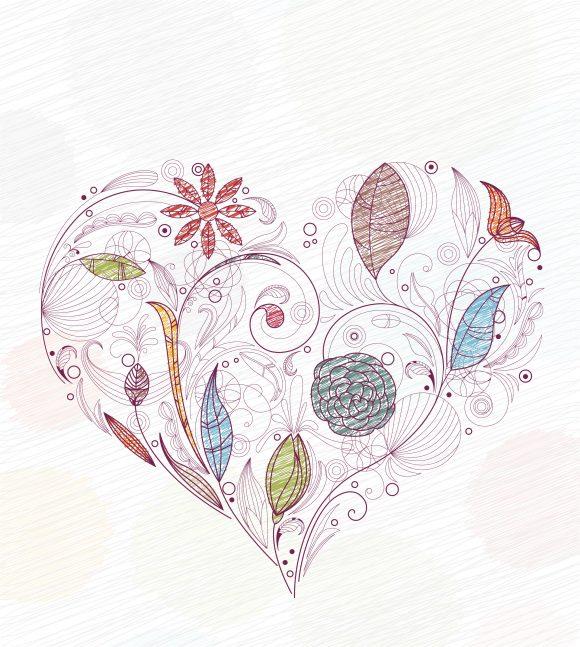 Doodles, Of, Illustration, Made Vector Artwork Doodles With Heart Made Of Floral Vector Illustration 10 28 2010 55