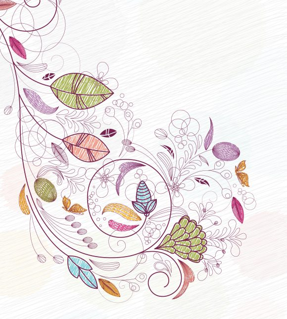Vector Vector Graphic Doodles Floral Background Vector Illustration 10 28 2010 57
