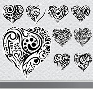 Abstract Hearts Set Vector Illustration Vector Illustrations floral