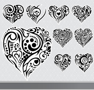 Abstract Hearts Set Vector Illustration Scenes floral