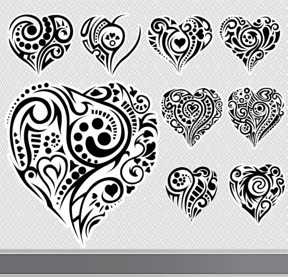 Set Vector Image Abstract Hearts Set Vector Illustration 10 29 2010 18