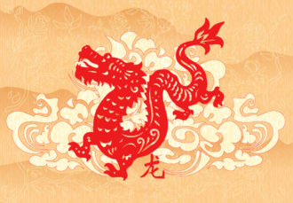 Vector Abstract Dragon With Floral Vector Illustrations floral