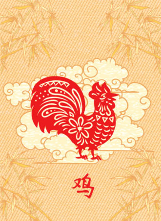 Vector Abstract Rooster With Floral Vector Illustrations floral
