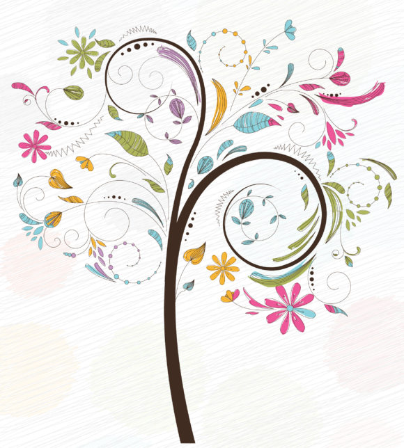 Lovely Colorful Vector Graphic: Doodles Background With Colorful Tree Vector Graphic Illustration 11 01 2010 1