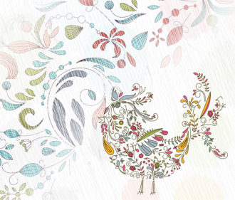Doodles Background With Colorful Bird Vector Illustration Vector Illustrations floral