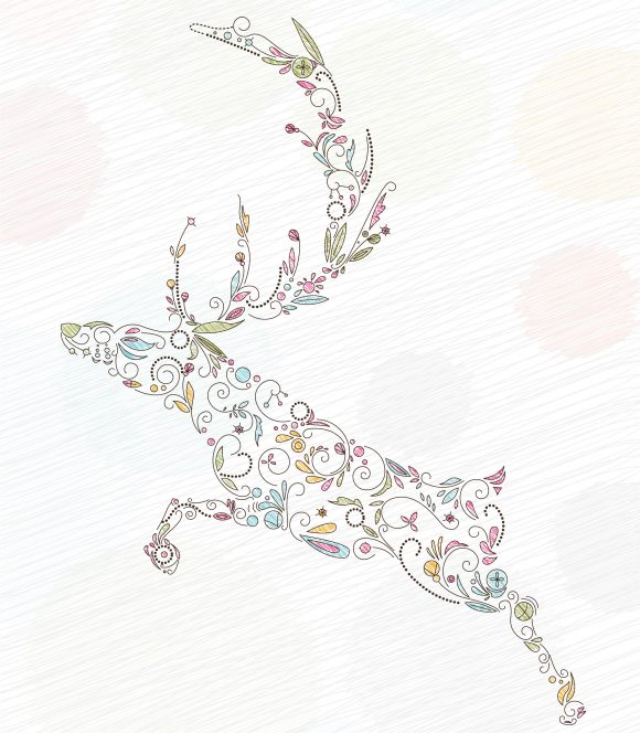 Lovely Christmas Vector Illustration: Vector Illustration Doodles Christmas Greeting Card With Reindeer 11 01 2010 14