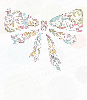 Doodles Background With Bow Made Of Floral Vector Illustration Vector Illustrations floral