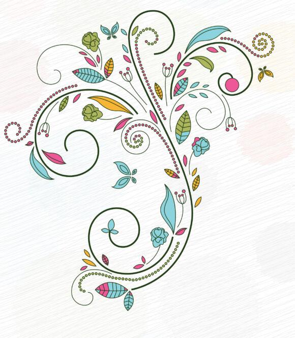 Brilliant Doodles Vector Graphic: Doodles Floral Background Vector Graphic Illustration 11 01 2010 17