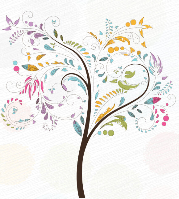 Exciting Illustration Vector Artwork: Doodles Background With Colorful Tree Vector Artwork Illustration 11 01 2010 2
